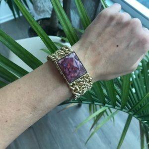Jewelmint Gold Chain Bracelet with Purple Opal